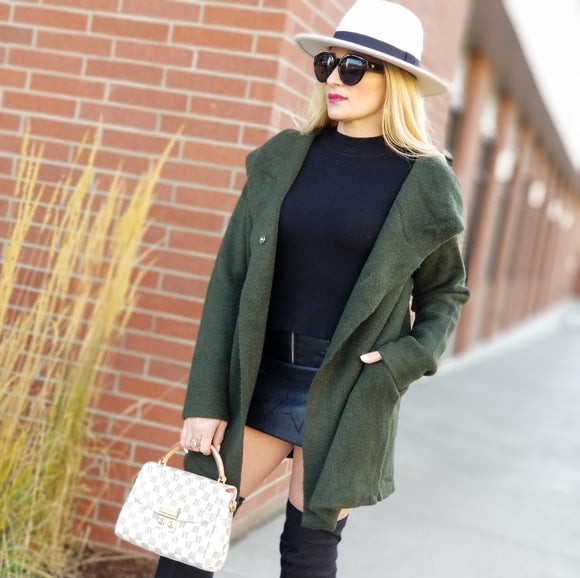 Olive Green Hooded Cardigan-Sweater-Moda Me Couture