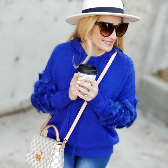 Blue Sweater Hoodie With Fur Detail-Tops-Moda Me Couture