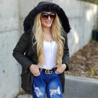 Warm Army Green Coat-Jackets & Coats-Moda Me Couture