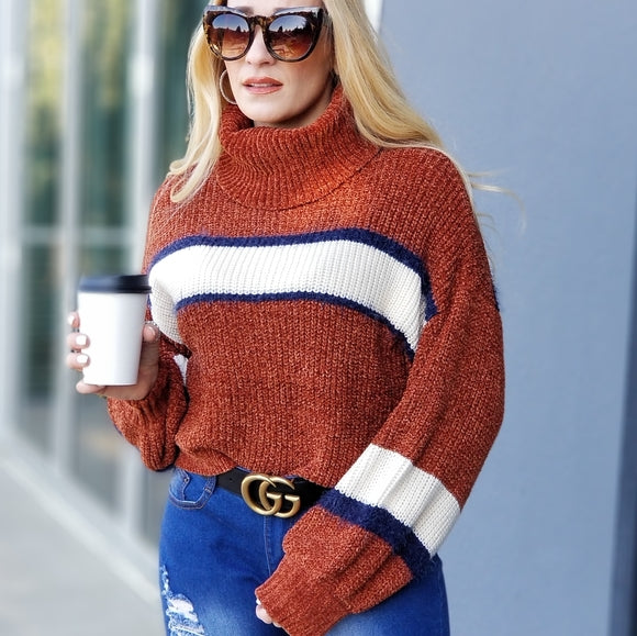 Soft Chenille Turtleneck Knit Sweater-Sweater-Moda Me Couture