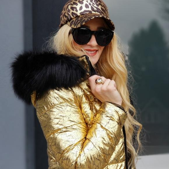 Reversible Gold Metallic Faux Fur Trim Coat-Jackets & Coats-Moda Me Couture