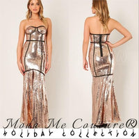 Gold Sequin Gown Maxi Dress-Dress-Moda Me Couture