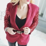 Burgundy Sequinned Sleeved Blazer-Jackets & Coats-Moda Me Couture