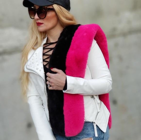 Luxe Faux Fur Scarf Pink Black-Accessories-Moda Me Couture
