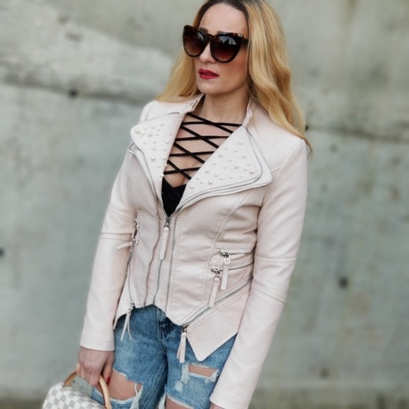 Let's Talk Pearls Faux Leather Jacket Blush Pink-Jackets & Coats-Moda Me Couture