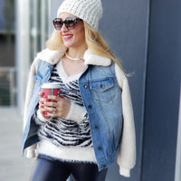 Denim Jacket with Sherpa Sleeves Collar-Jackets & Coats-Moda Me Couture