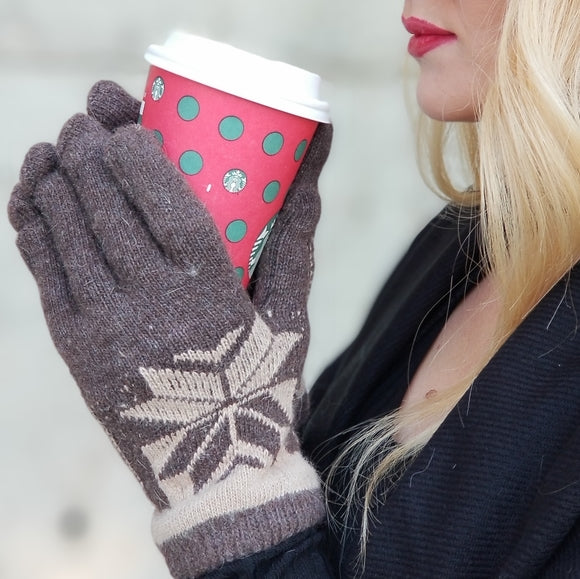 Warm Winter Mittens Gloves Brown-Accessories-Moda Me Couture