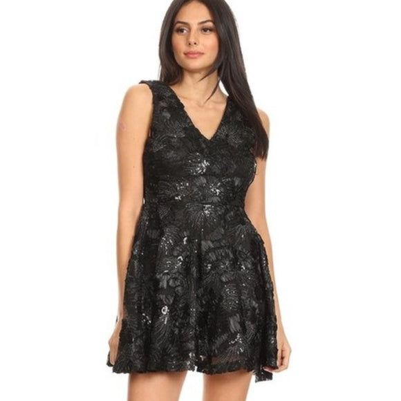 Holiday Party Black Mini Dress-Dress-Moda Me Couture ®