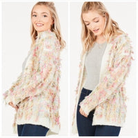 GIGI Shaggy Fringe Sweater Cardigan-Sweater-Moda Me Couture