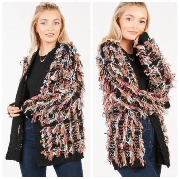 GIGI Shaggy Fringe Sweater Cardigan - Black-Sweater-Moda Me Couture