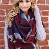 Anchors Away Oversized Plaid Blanket Scarf-Accessories-Moda Me Couture