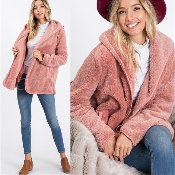 Cozy Sherpa Fur Hoodie Teddy Coat Pink-Sweater-Moda Me Couture