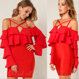 Red Bodycon Bandage Mini Dress-Dress-Moda Me Couture
