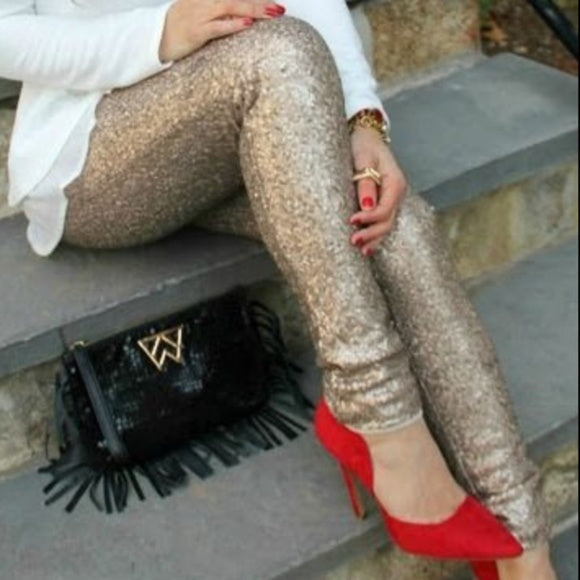 Sequin Skinny Pants-Pants-Moda Me Couture