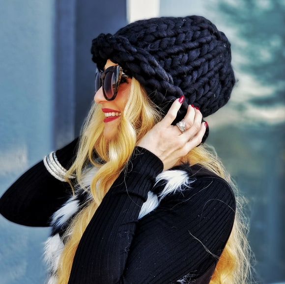 Tan or Black Chunky Knit Beanie-Accessories-Moda Me Couture ®