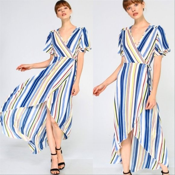 Striped Maxi Hi-low Dress-Dress-Moda Me Couture