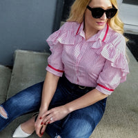 Stripes & Ruffles Button Down Top-Tops-Moda Me Couture
