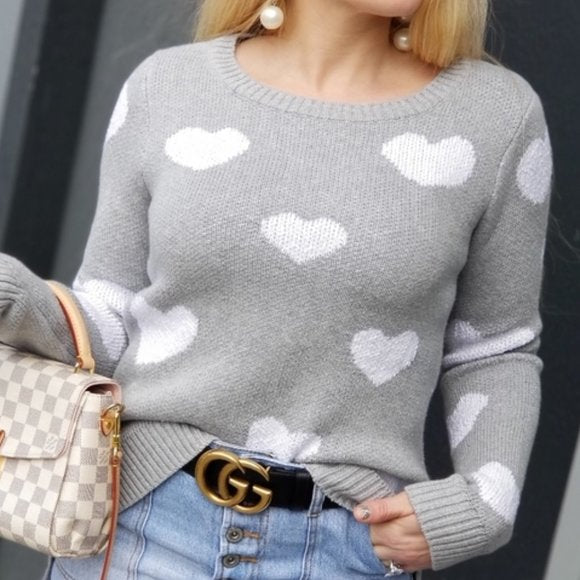 Love is in the Air Heart Print Sweater-Sweater-Moda Me Couture