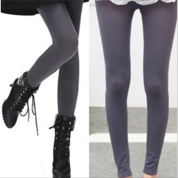 Charcoal Gray Fleeced Lined Leggings-Pants-Moda Me Couture