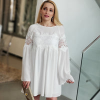 Alina Crochet Babydoll Dress-Dress-Moda Me Couture