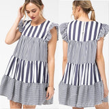 Hampton Vertical Blue Striped Babydoll Dress-Dress-Moda Me Couture