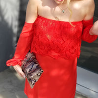 Delmara Off Shoulder Red Dress-Dress-Moda Me Couture