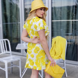 Sun Drenched Yellow Floral Wrap Mini Dress-Dress-Moda Me Couture