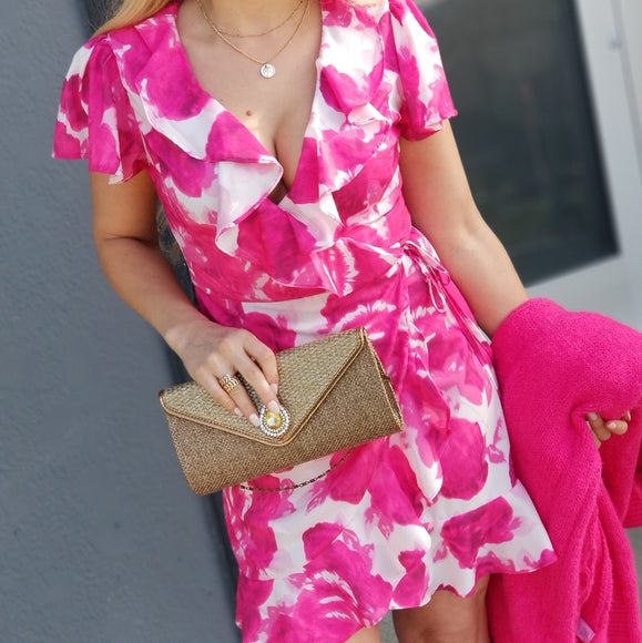 Tickled Pink Floral Wrap Mini Dress-Dress-Moda Me Couture