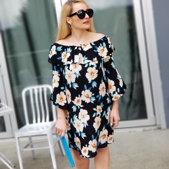 Enchanted Off Shoulder Floral Dress-Dress-Moda Me Couture