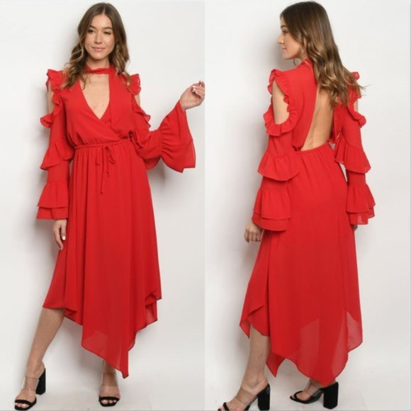 Chic Red Dress-Dress-Moda Me Couture