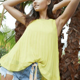 TESSA Pleated Trapeze Top Yellow
