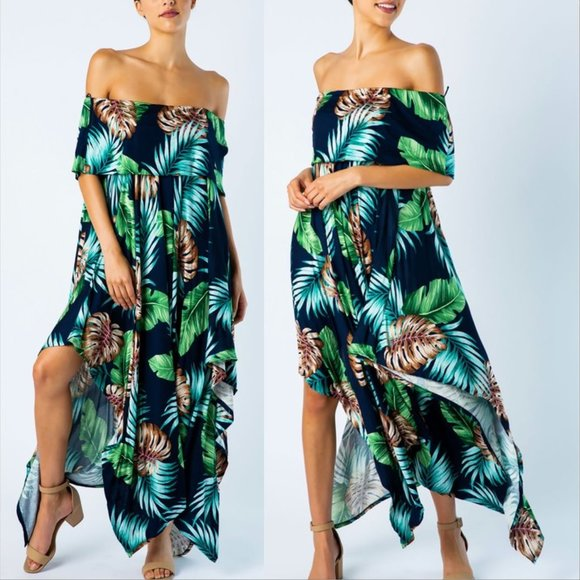 Vacay Vibes Palm Print Dress-Dress-Moda Me Couture