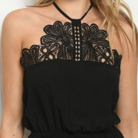 Black Lace Front Sleeveless Top-Tops-Moda Me Couture