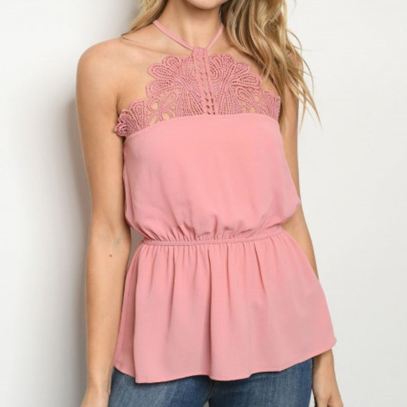 Pink Lace Front Sleeveless Top-Tops-Moda Me Couture