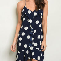 Navy Blue Polka-Dot Dress-Dress-Moda Me Couture