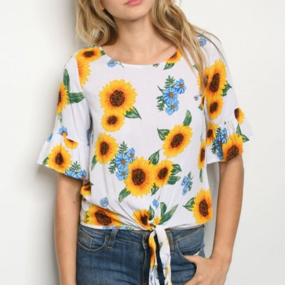 Sunflower Season Tie Front T-Shirt-Tops-Moda Me Couture