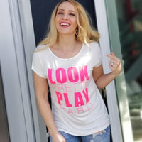 Look Pretty Play Hard Graphic Tee-Tops-Moda Me Couture