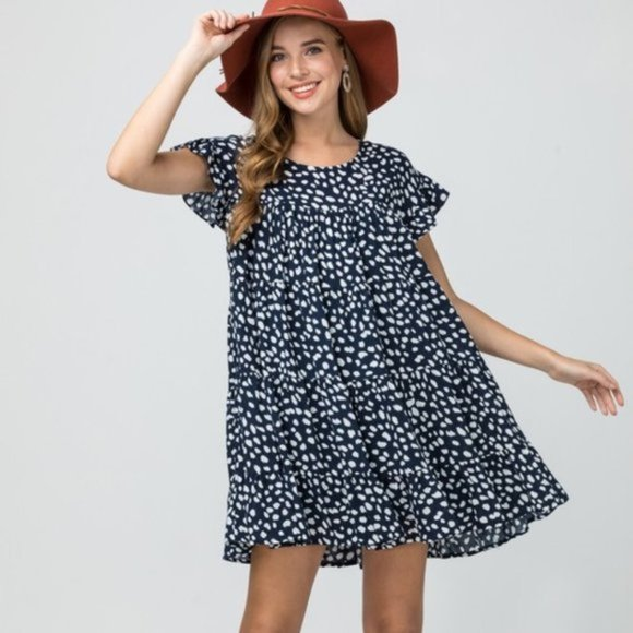 Dot Factor BabyDoll Dress - Navy Blue-Dress-Moda Me Couture
