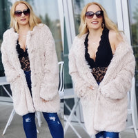 PAYTON Beige Plush Faux Fur Coat-Jackets & Coats-Moda Me Couture
