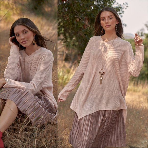 SOFIA Soft Pink Oversized Sweater-Sweater-Moda Me Couture