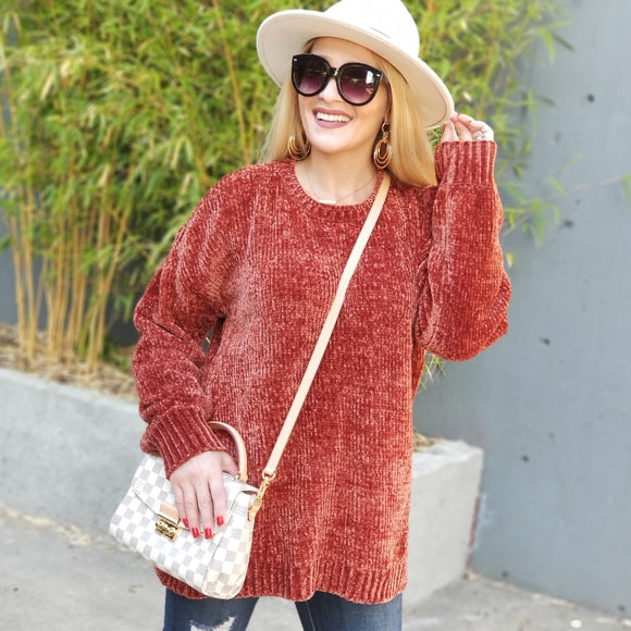 Chenille Cold Shoulder Sweater-Sweater-Moda Me Couture