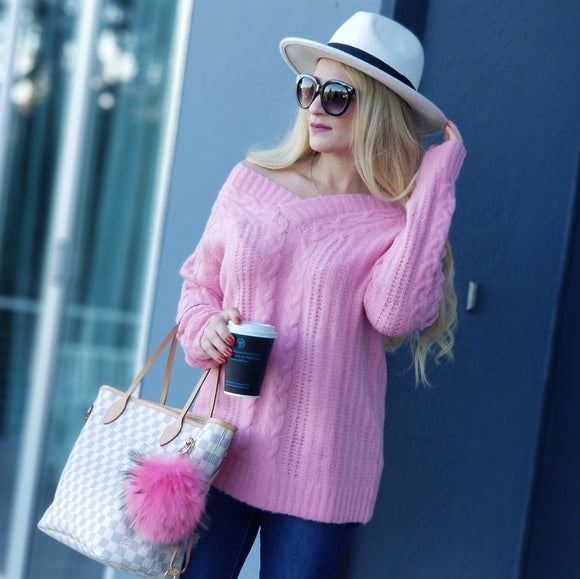 Pretty In Pink So Soft Cable Knit Sweater-Sweater-Moda Me Couture