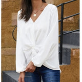 DOWN TO BUSINESS V-Neck Blouse Off white