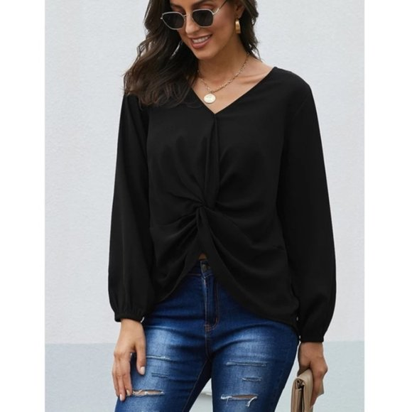DOWN TO BUSINESS V-Neck Blouse Black