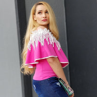 ESTHER Pink Ruffled Off Shoulder Top