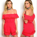 Off Shoulder Red Romper