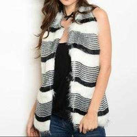 Opal Black & White Fur Vest-Jackets & Coats-Moda Me Couture