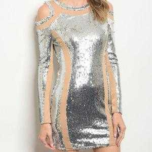 SEXY SILVER SEQUIN MINI DRESS