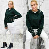 Hunter Green Pearl Detail Hoodie-Sweater-Moda Me Couture ®
