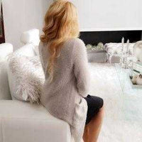 Fuzzy Knit Cardigan Beige-Sweater-Moda Me Couture